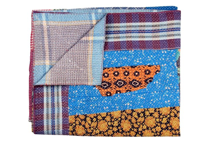 Hand-Stitched Kantha Throw, Villa