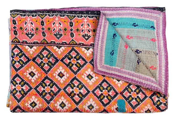 Hand-Stitched Kantha Throw, Pansy