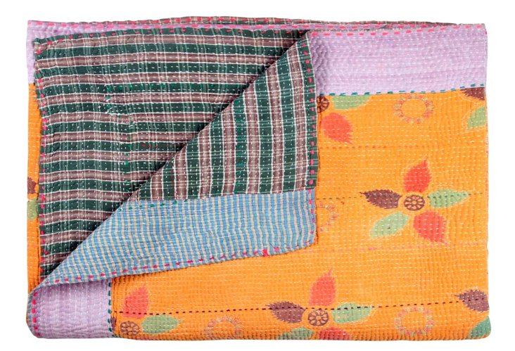 Hand-Stitched Kantha Throw, Aashi