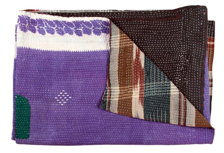 Hand-Stitched Kantha Throw, Bhakti