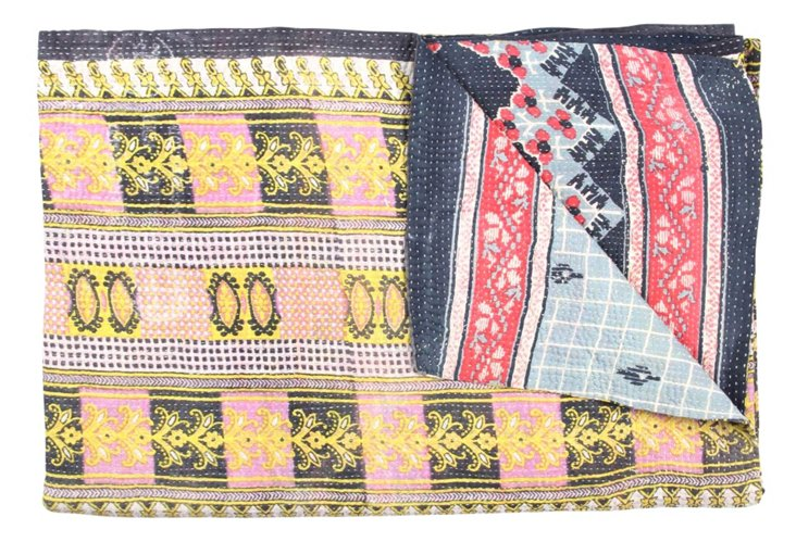 Hand-Stitched Kantha Throw, Racer