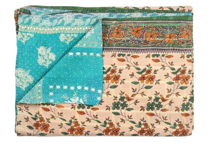Hand-Stitched Kantha Throw, Glory