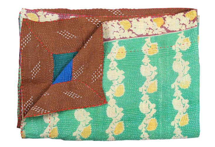 Hand-Stitched Kantha Throw, Royalty