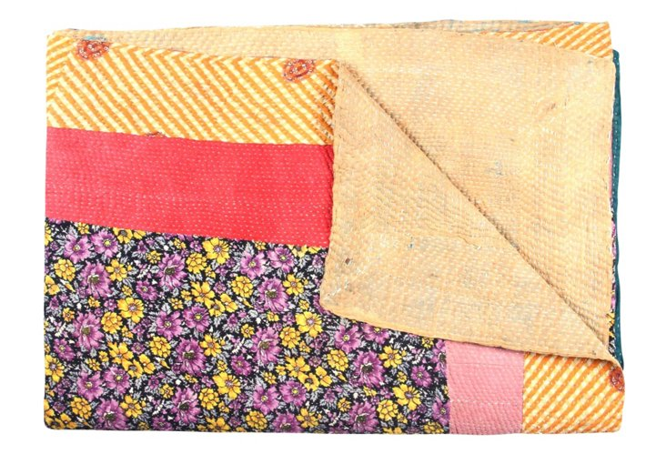 Hand-Stitched Kantha Throw, History
