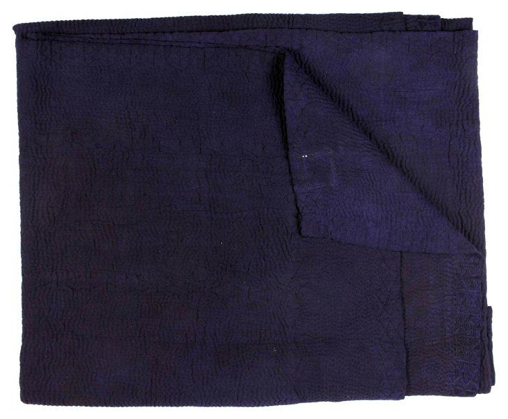 Hand-Stitched Indigo Kantha Throw, Air