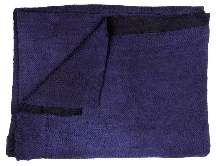 Hand-Stitched Indigo Kantha Throw, Check