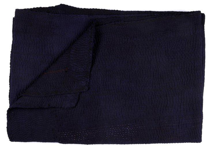 Hand-Stitched Indigo Kantha Throw, Kylie