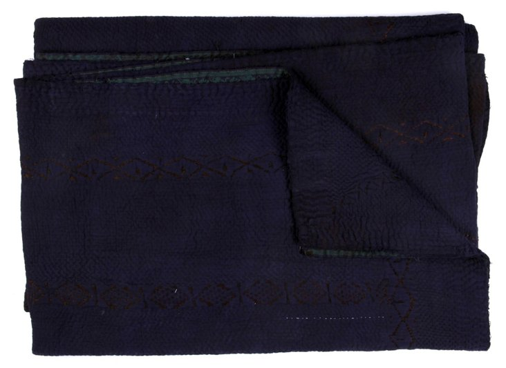 Hand-Stitched Indigo Kantha Throw, Jaca