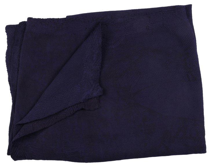 Hand-Stitched Indigo Kantha Throw, Blues