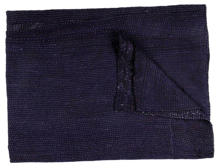 Hand-Stitched Indigo Kantha Throw, Love