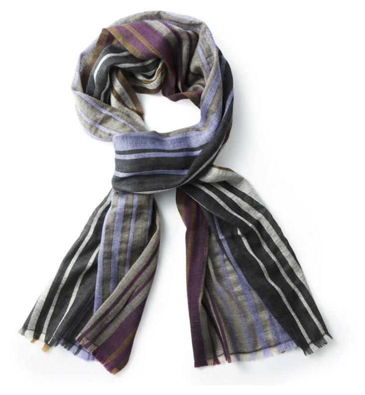 Merino Wool Scarf, Purple Stripe