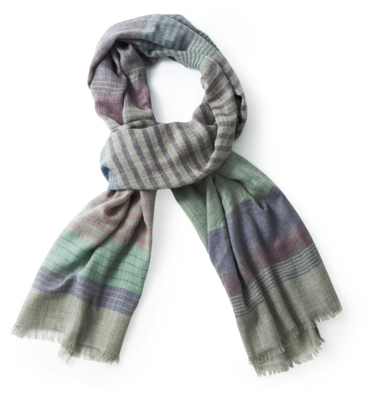 Striped Merino Wool Scarf, Blue/Green