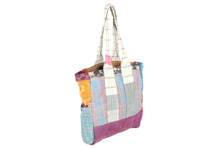 Kantha Multipatch Tote, Atlantic
