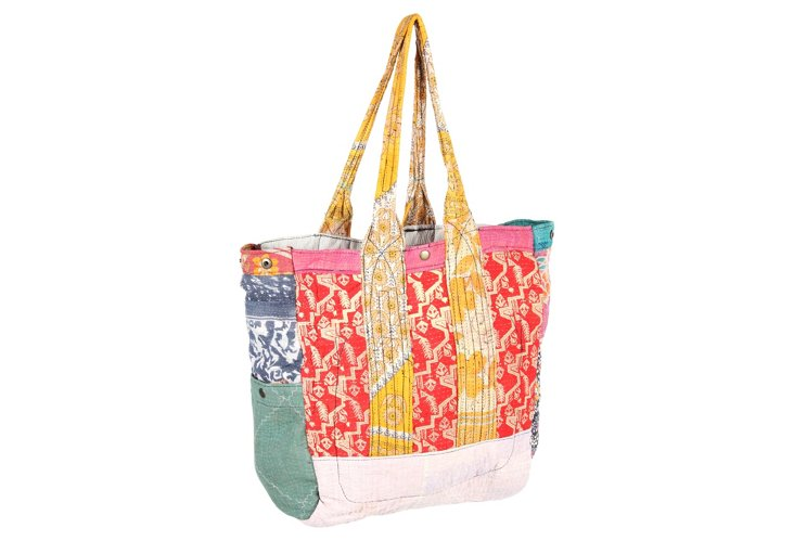 Kantha Multipatch Tote, Greenwich