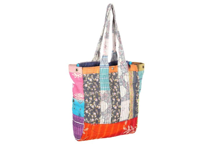 Kantha Multipatch Tote, Kelly