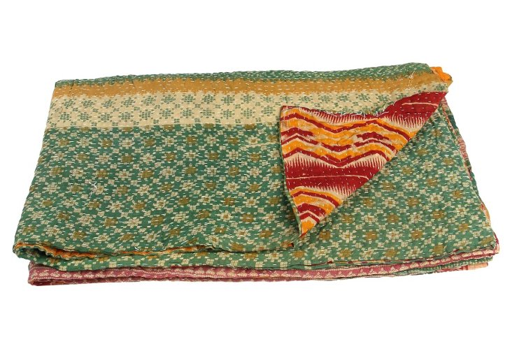 Hand-Stitched Kantha Throw, Checkers