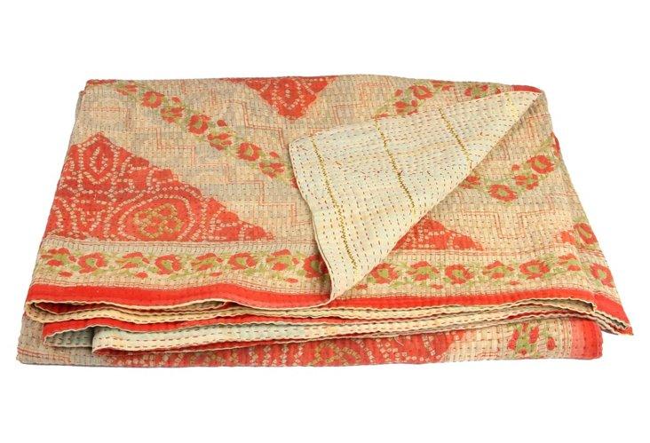 Hand-Stitched Kantha Throw, Diamond