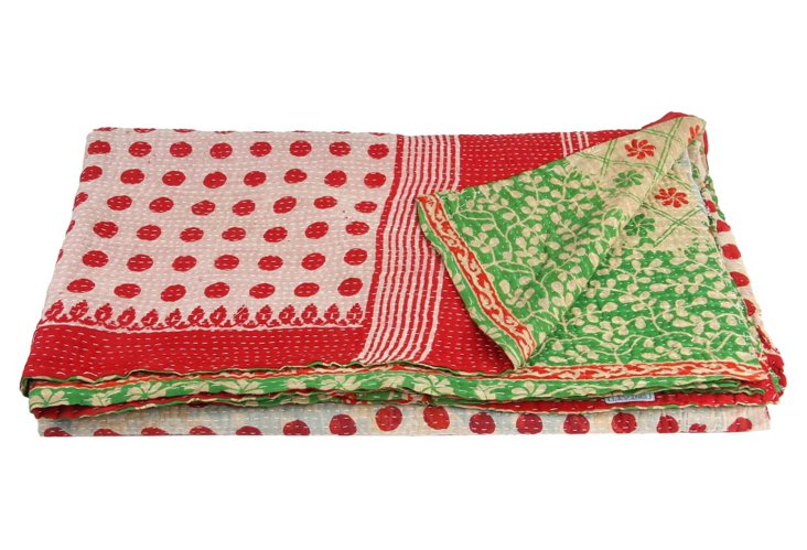 Hand-Stitched Kantha Throw, Youth