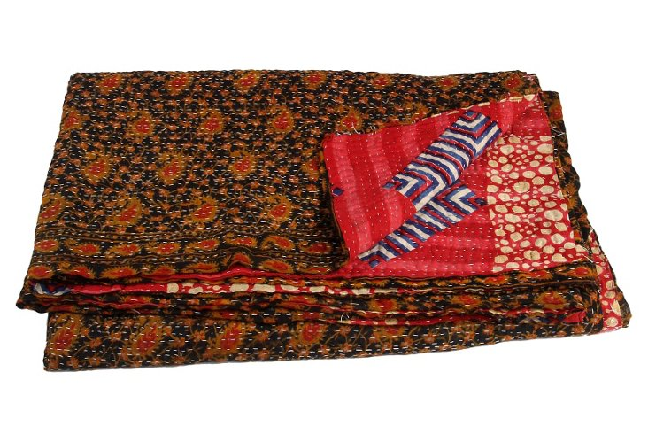 Hand-Stitched Kantha Throw, Beach