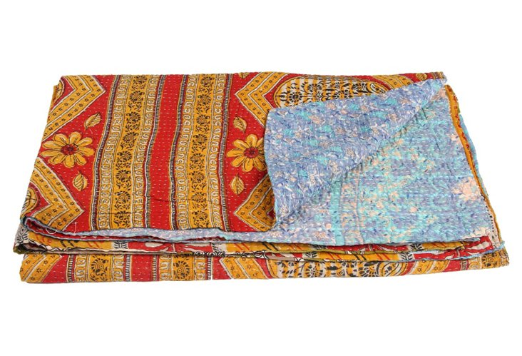 Hand-Stitched Kantha Throw, Seasons