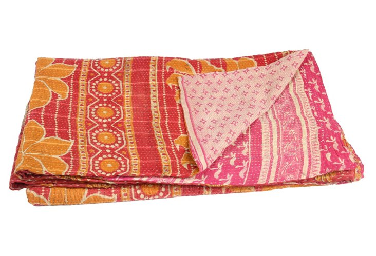 Hand-Stitched Kantha Throw, Seashell