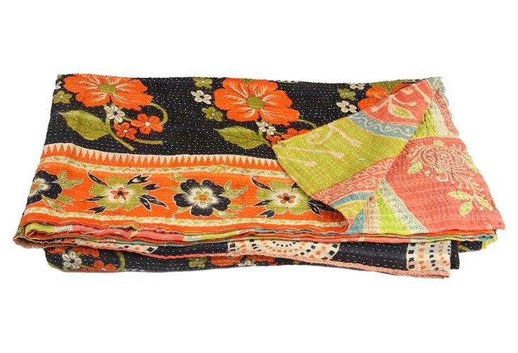 Hand-Stitched Kantha Throw, Banana