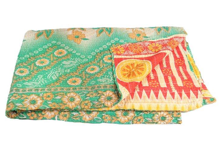 Hand-Stitched Kantha Throw, Honesty