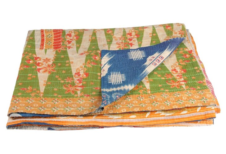 Hand-Stitched Kantha Throw, Happiness
