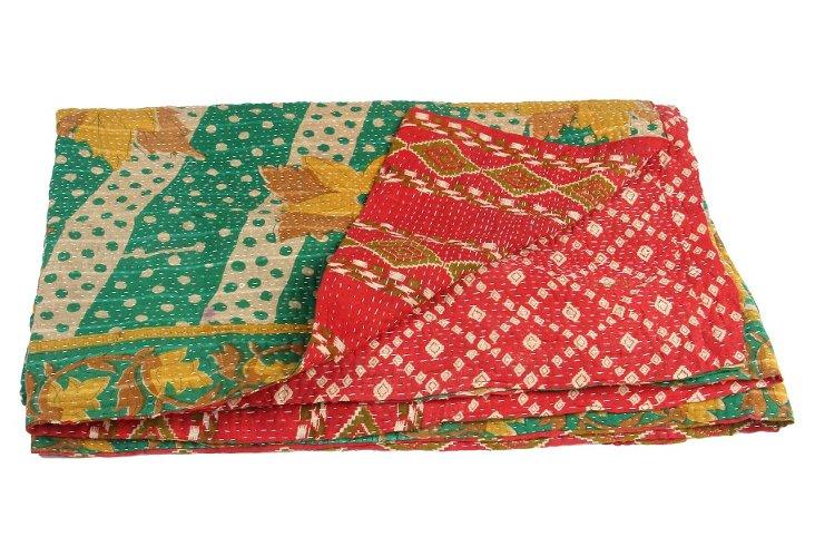 Hand-Stitched Kantha Throw, Sand