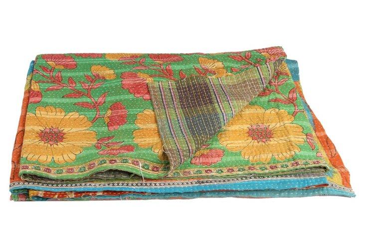 Hand-Stitched Kantha Throw, Dwarka