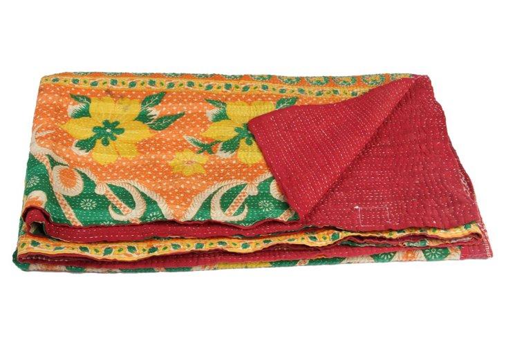 Hand-Stitched Kantha Throw, Shibini