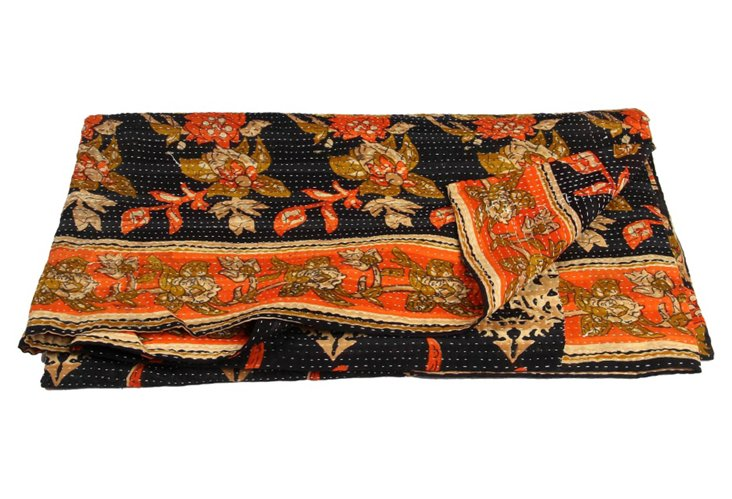 Hand-Stitched Kantha Throw, Eshe