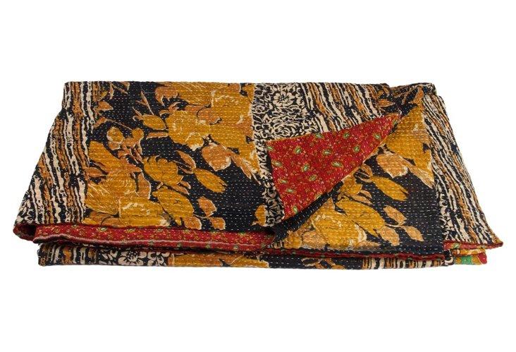 Hand-Stitched Kantha Throw, Elina