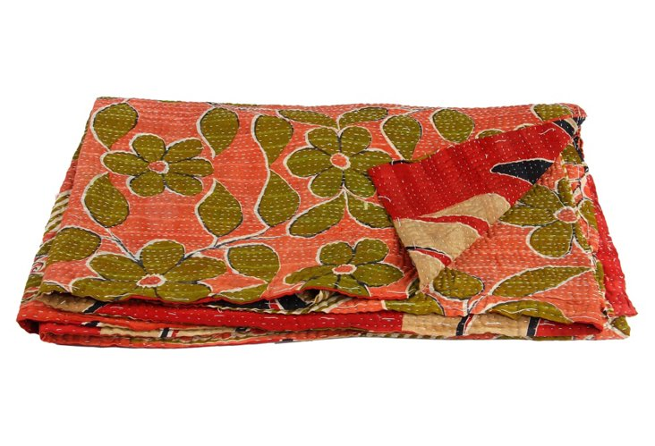 Hand-Stitched Kantha Throw, Tanzil