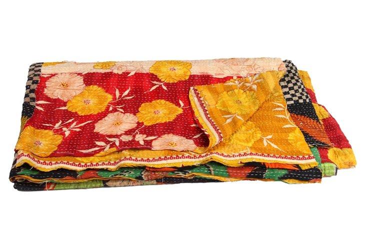 Hand-Stitched Kantha Throw, Nilasha
