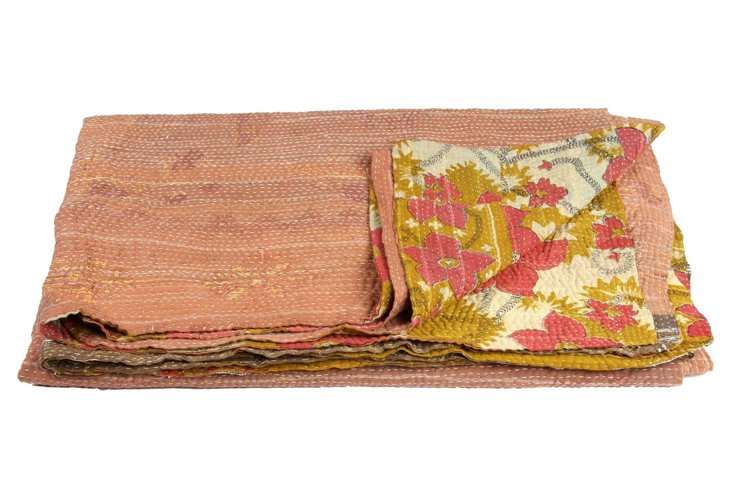 Hand-Stitched Kantha Throw, Nimmi