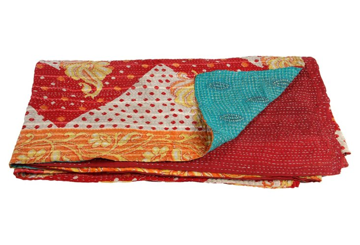 Hand-Stitched Kantha Throw, Geo