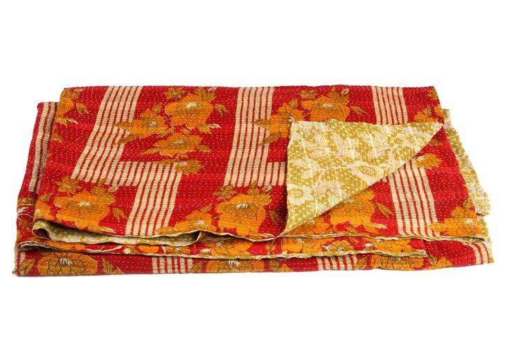 Hand-Stitched Kantha Throw, Fruit