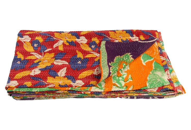 Hand-Stitched Kantha Throw, Tiger