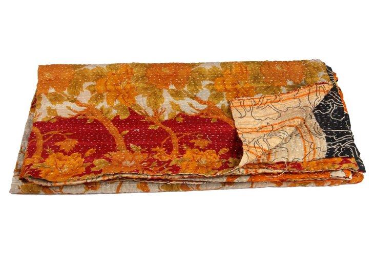 Hand-Stitched Kantha Throw, Zamaran