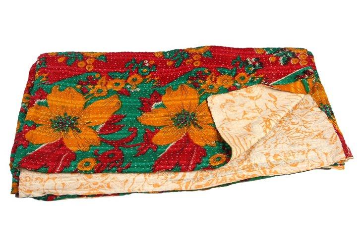 Hand-Stitched Kantha Throw, Gwaliar