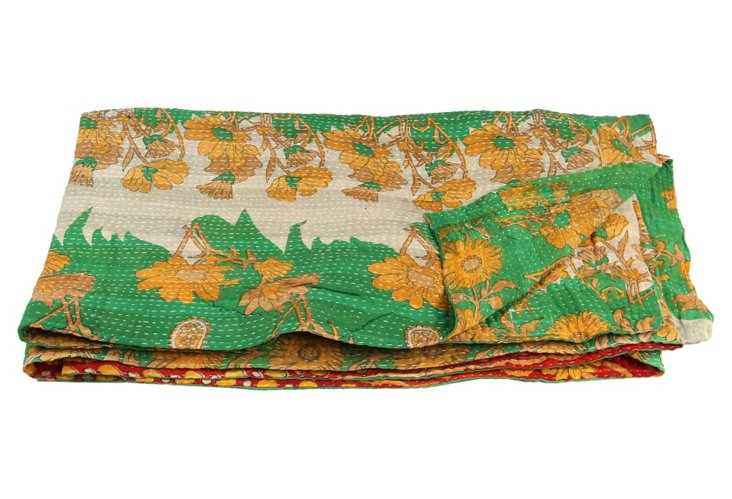 Hand-Stitched Kantha Throw, Azmarani