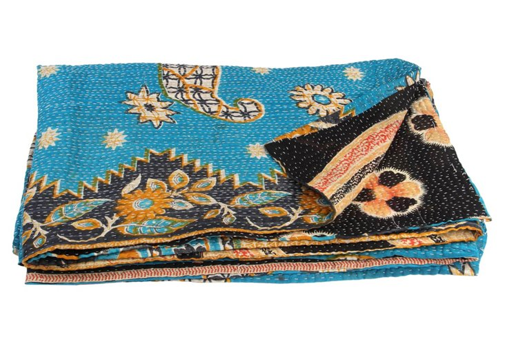 Hand-Stitched Kantha Throw, Nagina