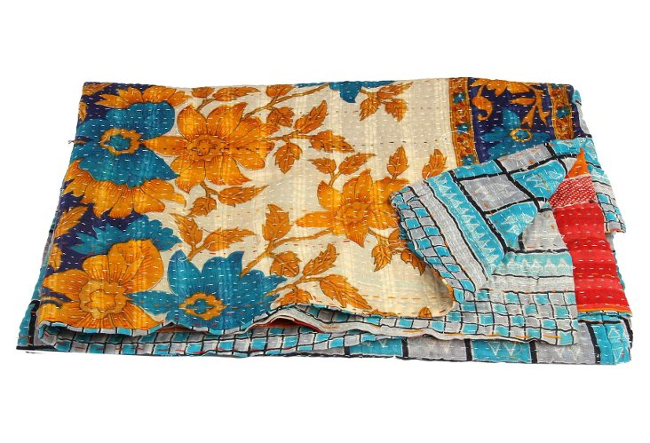 Hand-Stitched Kantha Throw, Nalini