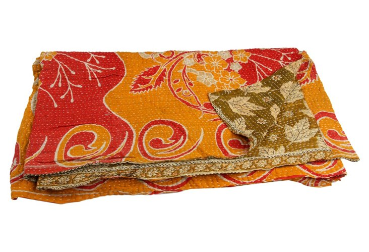 Hand-Stitched Kantha Throw, Namita