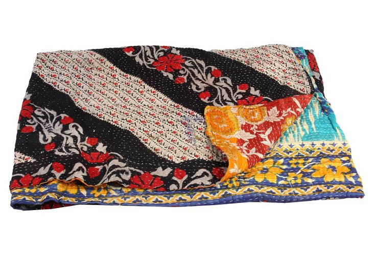 Hand-Stitched Kantha Throw, Nandini