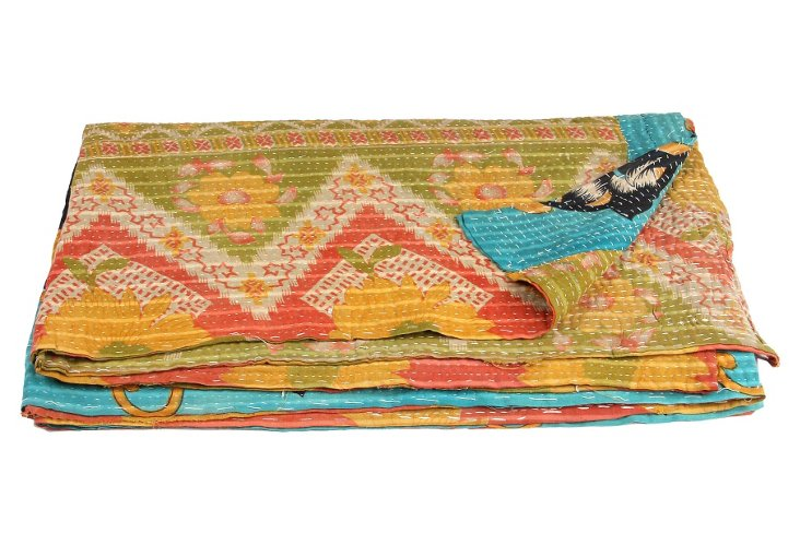 Hand-Stitched Kantha Throw, Joan