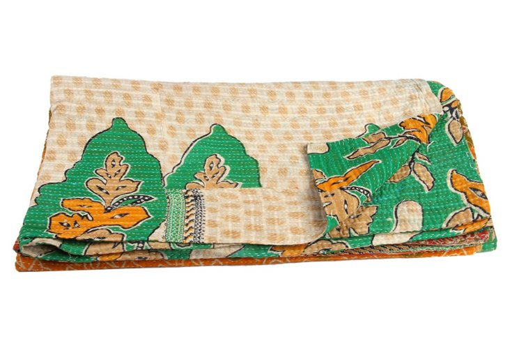 Hand-Stitched Kantha Throw, Rissani