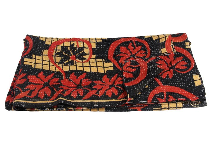 Hand-Stitched Kantha Throw, Tarini