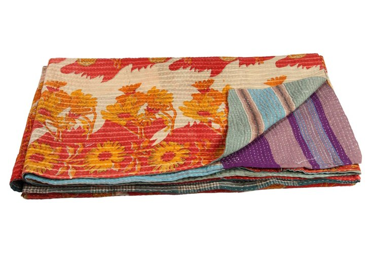 Hand-Stitched Kantha Throw, Stripe